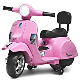 Costzon Kids Vespa Scooter, 6V Battery Powered Ride on Motorcycle w/ Training Wheels, Music & Horn, LED Lights, Forward/Reverse, Rechargeable Electric Vehicle Gift for Toddler Boys Girls (Pink)