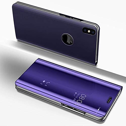 LCHDA iPhone XS Max Spiegel Ledertasche klapphülle Lila Brieftasche Schutzhülle Handyhülle Durchsichtig Clear View Flip Mirror Case Stoßdämpfend Standfunktion Magnetverschluß Handytasche 6.5 Zoll 2018