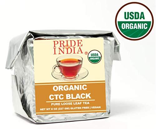 Pride Of India - Biologische CTC sterke zwarte thee, half pond (8 oz) volledig blad - Maakt 80-100 kopjes - Geteeld in Himalaya - Sterke, stevige moutige smaak - Geweldig voor het maken van zwarte thee, melkthee of doe-het-zelf chai-thee