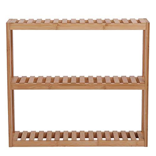 Estante de bambú para baño de 3 capas, multifuncional, capa ajustable, se puede utilizar para inodoro independiente, estante de utilidad, sala de estar, cocina, 60 x 15 x 54 cm, natural