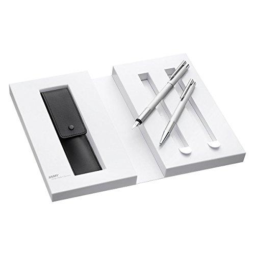 Lamy 1230491 Set Füllfederhalter mit Kugelschreiber und Lederetui und Geschenkverpackung M 006/206 brushed, silber
