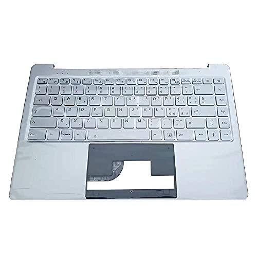 ZGQA-GQA Teclado de Repuesto para computadora portátil con Bisel Compatible con Chuwi Lapbook Air 14.1 CWI529 YXT-NB93-59 MB3008002 Plateado con Teclado retroiluminado IT Italiano Nuevo