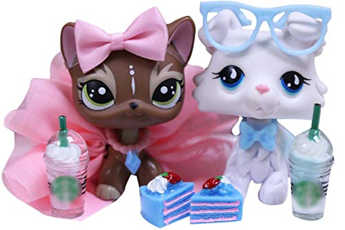 lpsloverqa Custom Made OOAK LPS Collie White Tear Drop Eyes Dog and Brown Elk Shorthair Cat Green Eyes with Accessories Lot Collection Figure Boys Girls Kids Gift Set