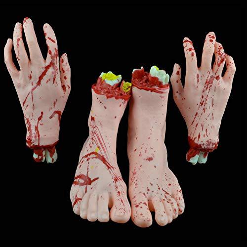 Lbellay Halloween durchtrennte Hände Füße, Realistische Hand- und Fußprothese, Horror Bloody Broken Body Parts Früher Halloween Haunted House Party Dekorationen,Flesh-Hands feet