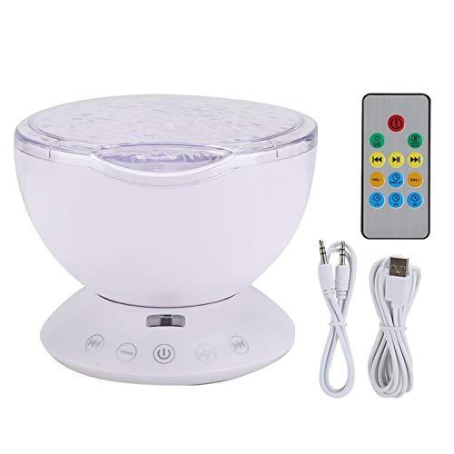 Agatige Proyector LED Ocean con Mini Altavoz, Tarjeta de Memoria de Soporte de lámpara de proyección Colorida para bebés, niños, Adultos, Dormitorio, Sala de Estar(Blanco)