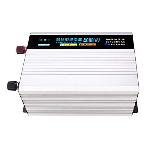 WMNRNYD Pure Sine Wave Power Inverter DC 12V/24V/48V/62V to AC 220V Voltage Converter Smart Inverter with LCD Display for Home Travel RV Car Solar System,4000W,12V