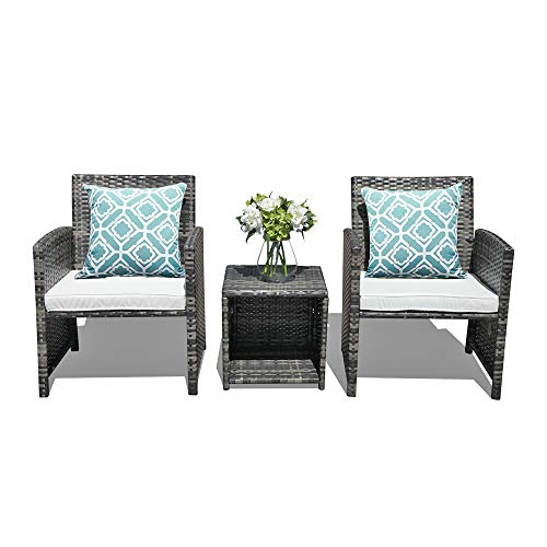 OC Orange-Casual 3-Piece Patio Furniture Set Outdoor Bistro Set Grey Wicker Chair with Storage Side Table, 2 Pillows Included, 2 Styles Cushion Covers