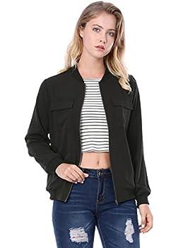 Allegra K Women s Zip Up Pocket Lightweight Casual Classic Bomber Jacket Black M  US 10