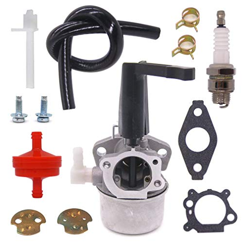 FitBest Carburetor with Spark Plug Fuel Line Filter Fits Briggs & Stratton 110402-0206-E1 110412-0211-E1 Engine 697422 696065 Tiller Carb