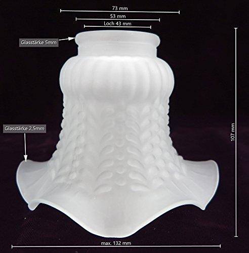 Lampenschirm antik-Stil weiß Glas Glasschirm kegelförmig Milchglas matt Jugendstil