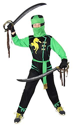 Foxxeo Ninja Kostüm für Jungen - Größe 92 bis 134 - schwarz grün - Kinder Krieger Kostüme Fasching Karneval, Größe 146-152