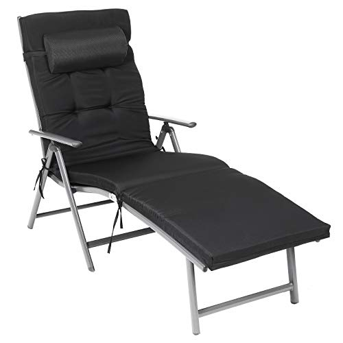 SONGMICS Foldable Sun Lounger, Sunbed with 6 cm Mattress, Removable Headrest, Rustproof Aluminium, Breathable, Comfortable, Reclinable, Max. Load Capacity 150 kg, Black GCB24BK