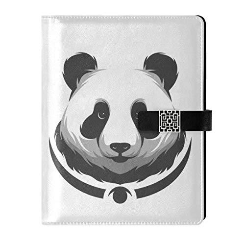 Cuaderno de notas de cuero con diseño de panda de viaje, rellenable, tamaño A5, cuaderno de tapa dura, regalo para mujeres y hombres