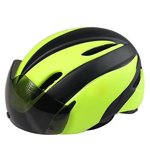 TONGDAUR Fietshelm Mannen Vrouwen fietshelm met zonneklep integraal gevormd Outdoor Veiligheid Bescherming Hoofd Helmen (Color : Green, Size : Free)
