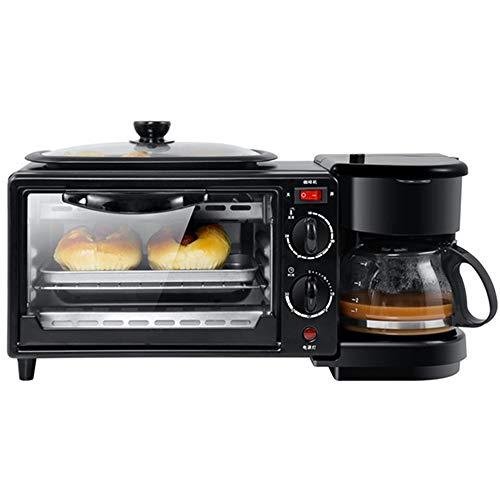 XuZeLii MáQuina De Desayuno Retro 3-en-1 Tamaño de la Familia Desayuno estación Cafetera Tostadora Horno Plancha Negro Apto para Cocinar (Color : Black, Size : 45X18X18CM)