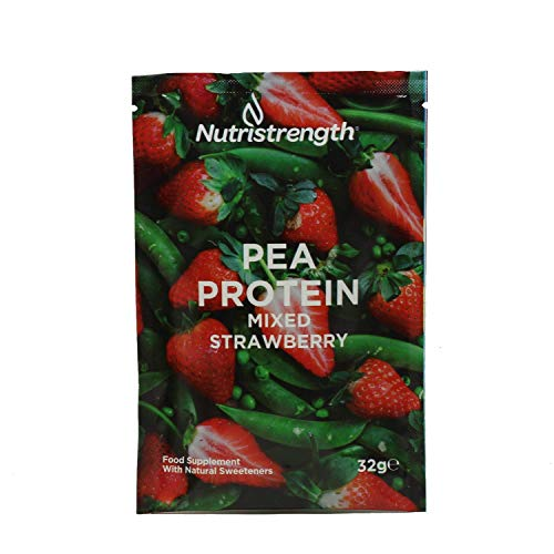 Vegan Protein Powder | Pea Protein Isolate with Naturally Enhanced Flavour | Soy & Lactose (Dairy) Free | 100% Plant Based Lean & Low Fat Nutritional Powder- Mixed Strawberry [Single Sachet]