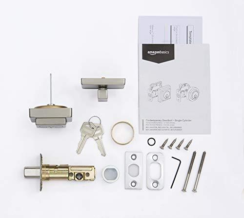 Amazon Basics Contemporary Square Deadbolt Door Lock, Single Cylinder, Satin Nickel