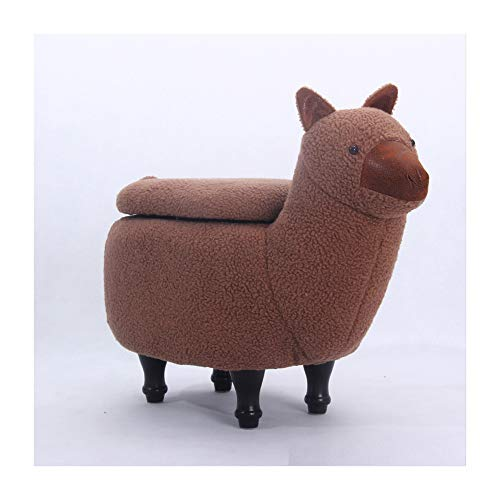 ZXLLAFT Cartoon Lamb Footstool Creative Cute Children's Ottomans Stool Animal Sheep Footrest (with Storage) Toy Storage Box Solid Wood Support Footrest,Brown,B