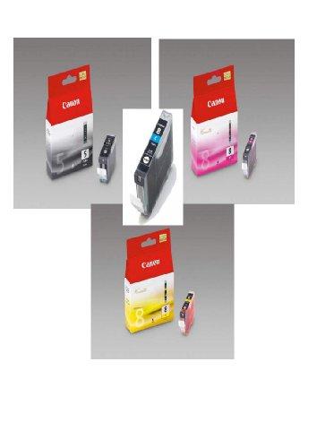 4 Original Canon Druckerpatronen für Canon Pixma iP3300 iP3500 iP4200 IP4300 iP4500 iP5100 iP5200 iP5200R iP5300 ix4000 ix5000 MP500 MP510 MP520 MP530 MP600 MP600R MP610 MP800 MP800R MP810 MP830 MP950 MP960 MP970 MX700 MX850 (Black/Photoblack/Cyan/Yellow/Magenta) Tintenpatronen