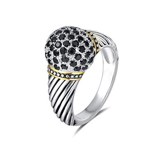 UNY Ring Twisted Cable Wire Designer Inspired Fashion Brand David Vintage Ball Shape Antique Women Jewelry Gift (Black, 9)