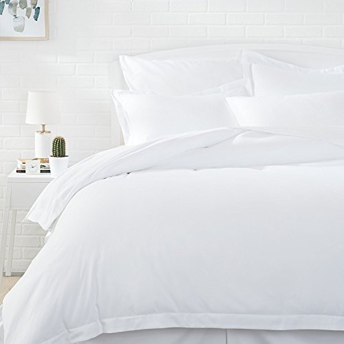 Amazon Basics Light-Weight Microfiber Duvet Cover Set with Snap Buttons - Full/Queen, Bright White