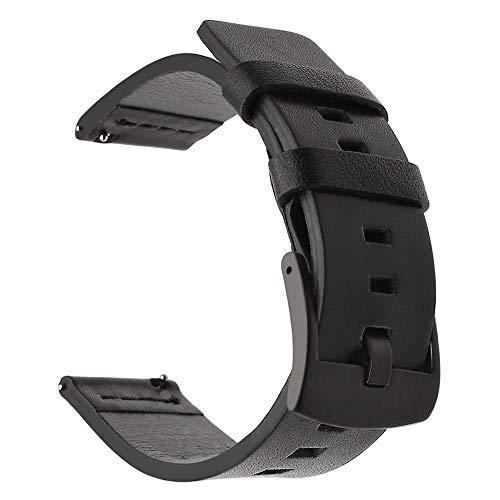 Pulseira de Couro 20mm compatível com Samsung Galaxy Watch Active 40mm 44mm - Galaxy Watch 3 41mm - Galaxy Watch 42mm - Amazfit GTR 42mm Amazfit Bip - Marca LTIMPORTS (Preto)