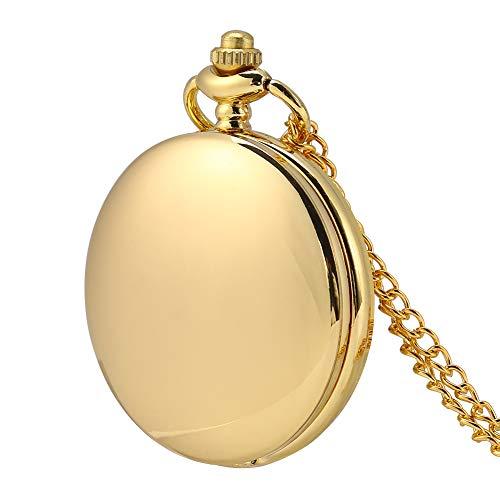 Reloj de bolsillo, reloj de bolsillo clásico de 3 colores con cadena para el día de Navidad para regalo para la novia en Halloween(Golden smooth chain)