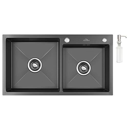 Auralum Küchenspülen in Edelstahl Einbauspüle Dunkelgrau Spüle Doppelbecken 78 x 43 x 22 cm inkl. Ablaufgarnitur und Seifenspender