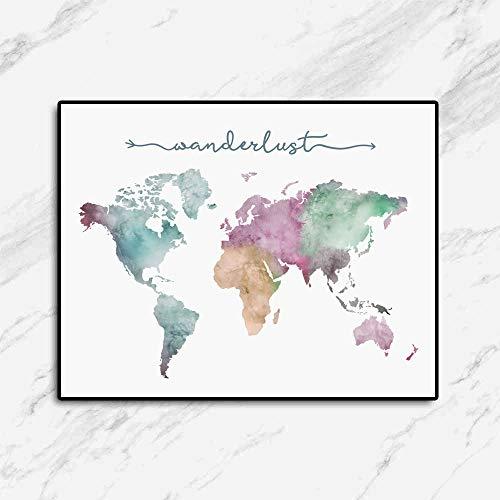 Wanderlust Art Print, The World Map Poster, Watercolor World Map, Travel Gift, Travel Art, World Map Decor, Wanderlust Gift, 11X14 Inch Unframed