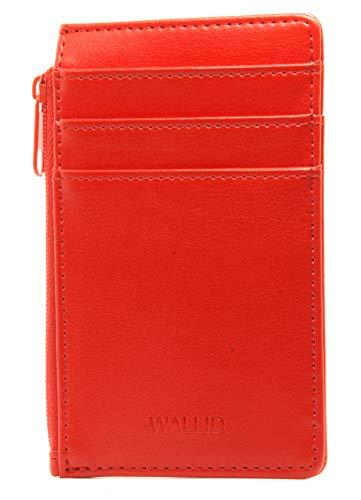 WALLID portatessere schermato piccolo sottile - porta carte di credito blocco rfid - portafoglio slim donna (rosso)