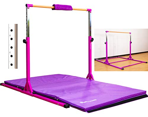 PreGymnastic Updated No Wobble Expandable Gymnastics Kip Bar with Fiberglass Rail & 304 Stainless Steel Regulating Arms, Adjustable Height 3'-5'