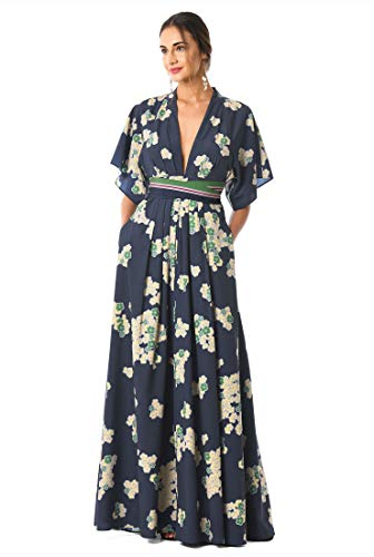 eShakti FX Plunge Floral Print Crepe Maxi Dress Deep Navy/Gray/Yellow/Green