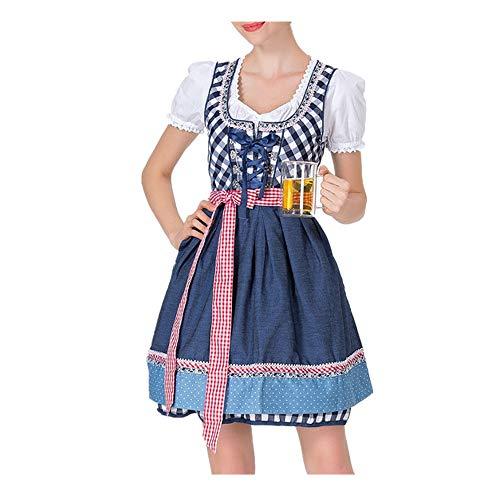 INLLADDY Kostüm Maid Outfit Karneval 3 PCS als Set inkl. Kleid mit Tops Schürze Damen Kostüm Cosplay Kleid Blau M