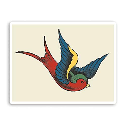 2 pegatinas de vinilo vintage de 10 cm de ancho, con diseño de pájaros de tatuaje retro #70005
