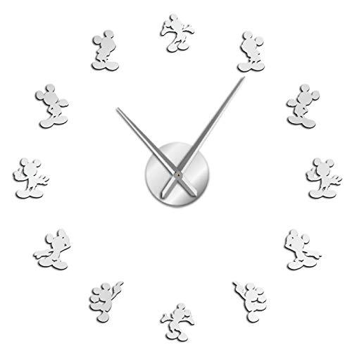 yage Ratón de Dibujos Animados DIY Reloj de Pared Gigante Cartoon Kid Room Decoración de la Pared DIY Reloj de Pared Colgante Efecto de Espejo Reloj de Pared de Comics sin Marco