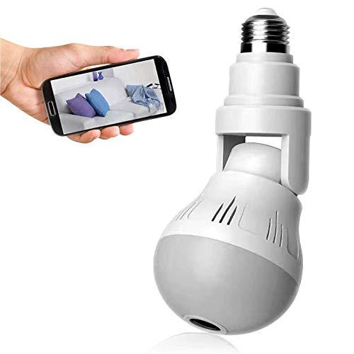 Faxiang Caméra Ampoule, Caméra De Surveillance Dôme HD 1080P, Caméra WiFi avec Carte De Stockage Cloud, Caméra Panoramique 360 °, Caméra Ampoule LED avec Vision Nocturne