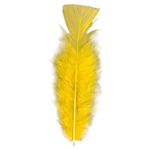 NET TOYS 50 Bastelfedern Deko Federn gelb - ca. 10 cm Bastel Dekofedern Samba Zierfedern Rio Flauschfedern Federschmuck Zubehör