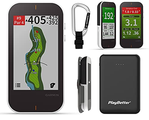 Garmin Approach G80 Handheld Golf GPS + Launch Monitor Radar Bundle | PlayBetter Portable Charger, Cart/Trolley Mount & Carabiner Clip | 41,000 Courses, PinPointer | 010-01914-00