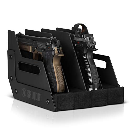 Savior Equipment Gun Pistol Revolver Firearm Handgun Rack Stand, Fit 4 of Most Long-Barreled Pistols, Cushioned Foam to Protect, Gun Safe Cabinet Storage Organizer Accessories