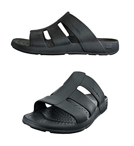 NUUSOL Stanley Slide Men Flip Flops; Egonomic Men Sandals with Textured Footbed, Soft-Cushion, Non-Slip, Orthotics Arch Support, Relieve Plantar Fasciitis Pain, XXX-Large (13 Men) Eclipse Black