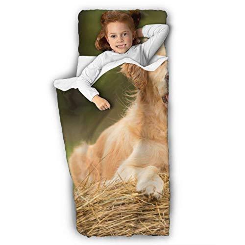 WYYWCY Beauty Golden Retriever Hund Relax On Kleinkind rollbare Nickerchen Matte Nickerchen Schlafmatte mit Decke und Kissen Rollup Design ideal für Vorschulkindergarten Sleepovers 50