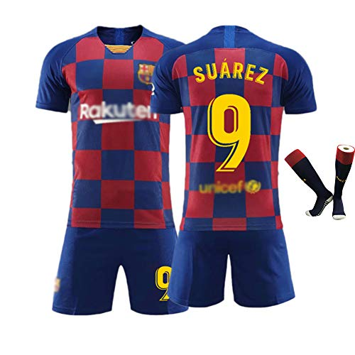 # 10 Messi Trikot Fußball Uniform # 9 Suárez Outfit, Home Court Club Kurzarm Shorts Socken Trainingsanzug für Männer Kind Geschenk 16-XXL 1 Set Blue(#9)-24