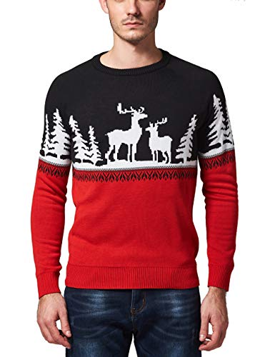 SSLR Men's Crew Neck Pullover Ugly Christmas Sweater (Large, Red Black)