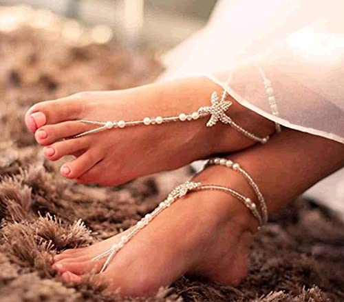 Beach Wedding Foot Jewelry Fancy Pearl Barefoot Sandals Starfish Anklet for Bridal Destination Wedding,Pool Party Jewelry,Bridesmaid Gift Mother Presents to Daughter Summer Outdoor Parties Accessories