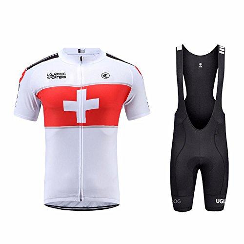 Uglyfrog Bike Wear Hombres Maillots de Bicicleta Conjunto de Ropa de Ciclo Jersey de Manga Corta + Pantalones Cortos Acolchados Cómodo Respirable Secado rápido