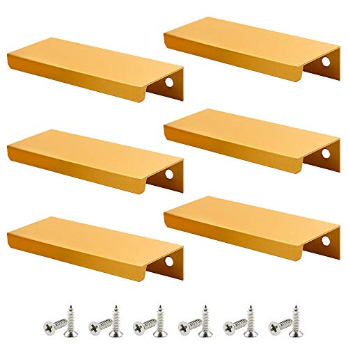ZXHAO Modern Style Finger Edge Pull Concealed Handle for Home Kitchen Door Drawer Cabinet 80mm Length Gold Tone 6pcs