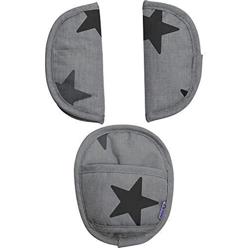 Original Dooky Universal Pads Grey Stars Gurtschoner & Gurtpolster geeignet für Altersgruppe 0+ und 3 & 5 Punkt Gurte für Babyschale, Kinderwagen, Buggy & Autositz, grau