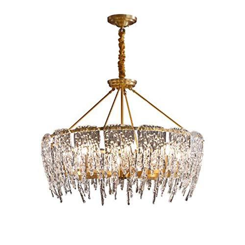 KDMB Candelabro Industrial Moderno E Latón Mid Century Crystal Lámpara Colgante Iluminación de Lujo Creatividad Lámpara de Techo para Sala de Estar Cocina Oficina-Dorado, Dorado, 85 * 59cm