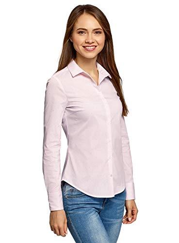 oodji Ultra Mujer Blusa Entallada a Lunares, Rosa, ES 42 / L