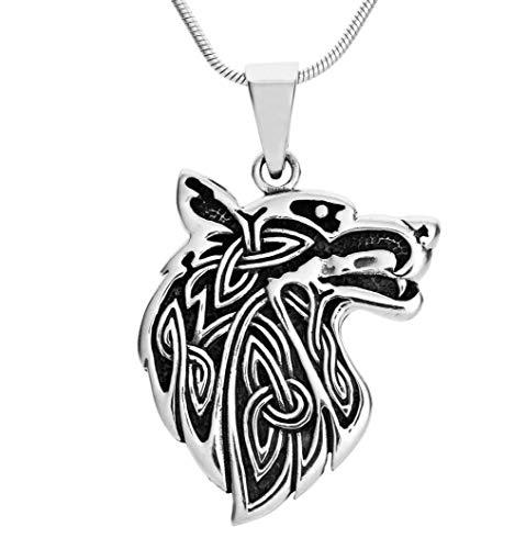 TreasureBay Collar con colgante de lobo para hombre, plata de ley con cadena para hombre